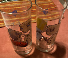 "VINTAGE ET THE MOVIE ""BE GOOD"" & ""PHONE HOME"" PIZZA HUT COLLECTIBLE GLASSES 1982"