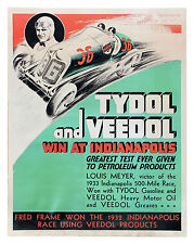 1933 Tydol and Veedol Indy 500 Advertisement Poster