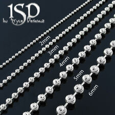 925 Sterling Silver Unisex White Moon Cut Bead Chain Necklace 2mm - 6mm