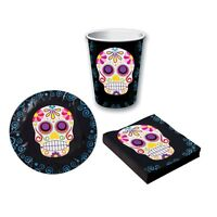 Day Of The Dead Tableware Cups Plates Napkins Halloween Party Decoration