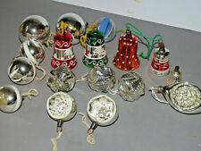 antiker Christbaumschmuck 17 tlg Glocken Reflexkugeln ua echt Lauscha vorkrieg