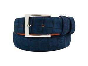 Handmade Genuine AAA ULTRA Suede Blue Alligator Leather Belt (Made in U.S.A)