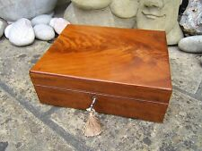 SUPERB  EARLY 19C SOLID MAHOGANY ANTIQUE DOCUMENT/JEWELLERY BOX - FAB INTERIOR