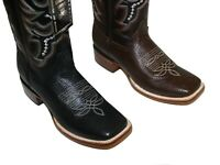 Men's Genuine Deer Skin Leather Cowboy Western Square Toe Rodeo Boots ~~
