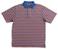FootJoy FJ Mens Size L Short Sleeve Golf Polo Shirt Stretch Striped Red Blue