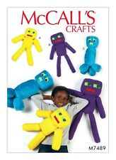 "McCALLS CRAFT PATTERN M7498 18"" & 23"" PLUSH ROBOT TOYS UNCUT"