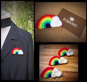Rainbow Hope Brooch/Pin/Badge 10% Donated To NHS Hero's Charity Knitted/Crochet