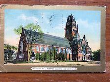 University Hall, Harvard College, Cambridge, MA Vintage Postcard Gold Border