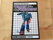 Transformers G1 CUSTOM TURBINE seeker instructions book manual