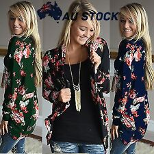 Vintage Womans Rose Printed Cardigan Loose Kimono Cape Casual Tops Blouses S-3XL