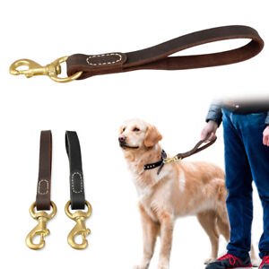 "Genuine Leather Dog Traffic Leash Short Pet Leads 12"" Long for Medium Large Dogs"