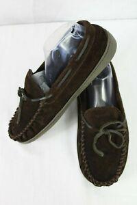 Minnetonka Men's Brown Pile Lined Hardsole Moccasin Slippers Size 10 41322 Warm