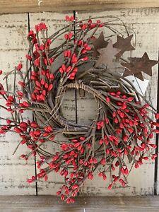 "10"" Red Pip & Star Twig Wreath - Primitive Farmhouse Americana Country"