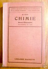 CHIMIE BREVET ELEMENTAIRE Hachette 1929