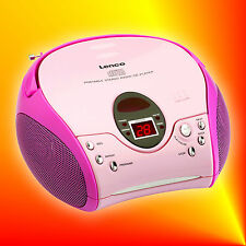 Lenco SCD-24 pink Stereo UKW/FM-Radio mit CD-Player | Boombox Kinder