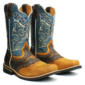 Men's Brown Genuine Leather Western Cowboy Boots Rodeo Square Toe Botas Vaqueras