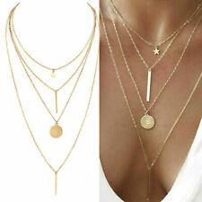 NEW Women Crystal Multi-Layer Choker Collar Pendant Chain Necklace Jewelry Gold