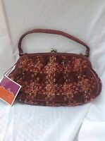 Vera Bradley Small Burgundy Plaid Tweed Handbag Purse Kisslock Clutch Bag NEW
