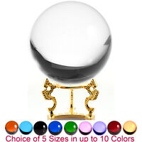 Crystal Ball Sphere for Feng Shui, Meditation, Decor, with Gold Dragon Stand.