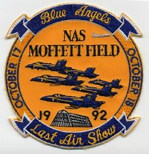 US NAVY BLUE ANGELS NAS MOFFET FIELD LAST AIR SHOW PATCH 1992 MILITARY PATCH