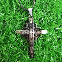Gift Unisex's Men Stainless Steel Cross Pendant Black Silver Necklace Christian