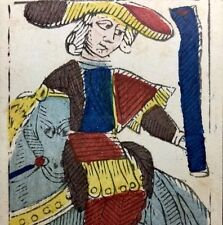 Fortuna c1780 Knight of Batons Antique Tarot Playing Cards Painted Single +COA