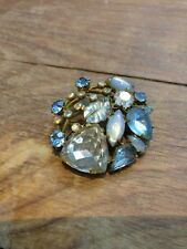 Vintage Brooch with Pale Blue & Clear Claw Set Stones  (v)