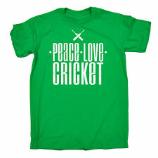 Peace Love Cricket T-SHIRT Sport Stumps Bat Pads Accessorie Gift fathers day