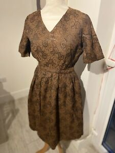 VINTAGE 50's BROWN PAISLEY SHIMMER BELTED FULL SKIRT PROM DRESS UK 8/10 SMALL