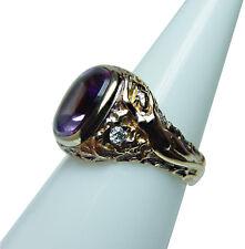 Art Nouveau Nude Female 14K Amethyst European Diamond Ring Gold Estate