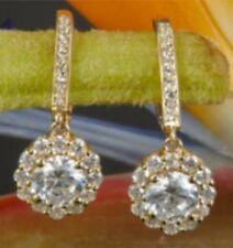 Real 2.20ct Round Lever Back Hanging Drop Diamond Earrings 14k Solid Rose Gold