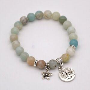 Amazonite Bracelet Tree Life Flower Charm Women Reiki Crystal Chakra Heal Bag UK