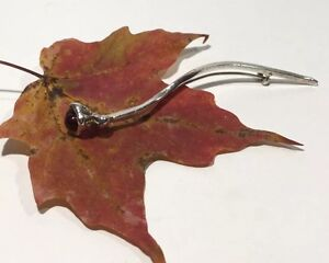 Scandinavian Style HandWrought 925SS Curved Stem Wine-Red Flower Bud Brooch 2.7g