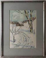 """Vintage Framed Watercolor Winter Scene Landscape Signed Framed Art  (17"""" x 13"""")"""