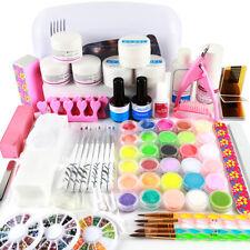 Professional Nail Art Acrylic Powder 9W MINI Lamp UV Gel Nail Kit Tool Brush Tip