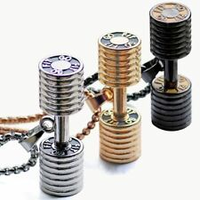 Gym Necklace Dumbell Barbell Weight Pendant Bodybuilding Fitness Chain Jewelry
