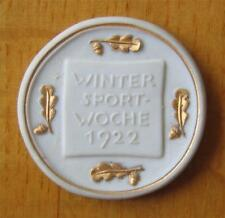 "Porcelain Participation Medal 1922 Garmisch First German ""Winter Olympic"" Games"