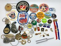 Vintage Mixed Lot Patches, Key Chains, Pin Back Buttons, Lapels, ETC... (RF1070)
