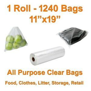 FDA 1000 CLEAR PLASTIC BAGS ROLL BAG CLOTHES POLY PRODUCE FOOD BAKERY 11x19