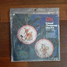 Holiday Crewel Stitchery KIT CHRISTMAS REINDEER KOALA BEAR Hallmark Ornament 70s
