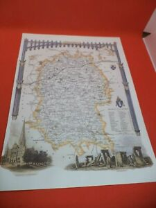 WILTSHIRE new art print repro ANTIQUE COUNTY MAP thomas moule 1800s VICTORIAN