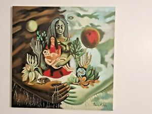 FRIDA KAHLO HANDMADE OIL PAINTING ON CANVAS,SIGNED,W/GALLERY STAMPS