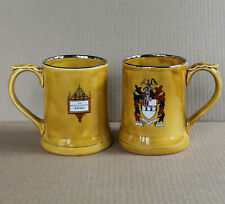 2 Vtg Mugs Wade England THE BEERDRINKERS Coat of Arms & Motto, Same Again Please