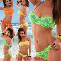 Bikini donna costume da bagno ricamo fascia floreale due pezzi PIZZO nuovo D301