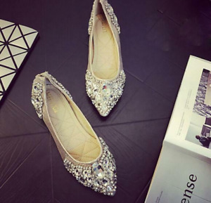 Womens Flat Heel Wedding Shoes Bling Pointed Toe Rhinestone Bridal Shoes Loafers