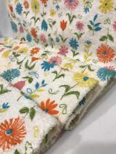 "Vtg Cotton Fabric 50s TERRY CLOTH Orange Aqua Yellow Pink Flowers 37x1yd+28"""