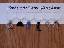"""EQUESTRIAN, TRIPLE CROWN"""" (SET #1) Set of 6 hand crafted wine glass charms"""