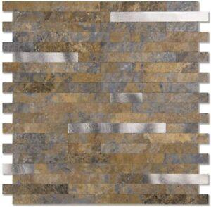 Peel and Stick Backsplash Stone Mosaic Tile for Kitchen Bathroom Grey White