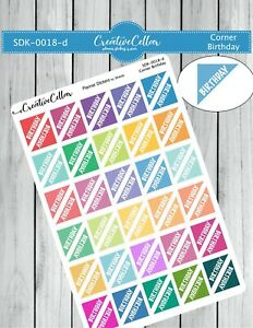 SDK-0018-d Planner Stickers 60 Corner Birthday Reminders for any Planner
