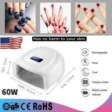 White Nail Dryer Leduv Gel Lamp Light 60W Gel Polish Curing Machine Rechargeable